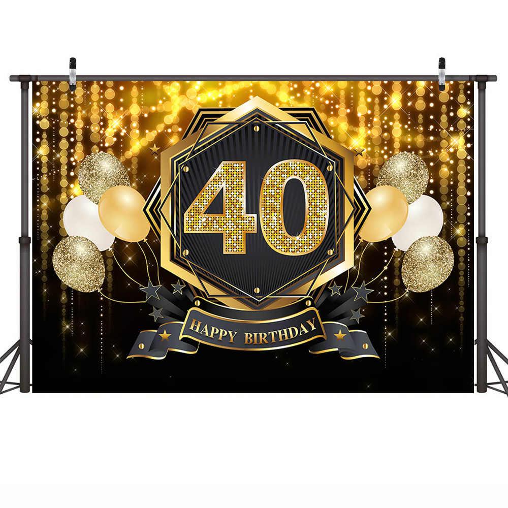 40th 50th שמח מסיבת יום הולדת רקע שיחת וידאו זהב גליטר יום הולדת עוגת שולחן רקע בלוני צילום מותאם אישית