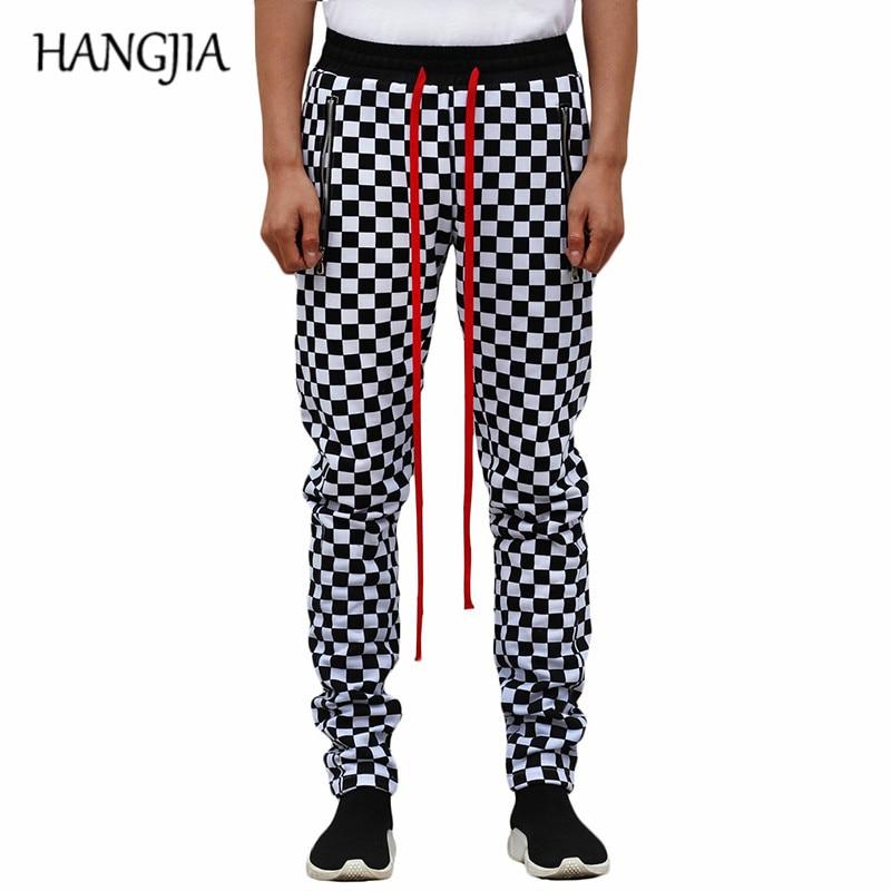 White Black Plaid Joggers Pants Men Hip Hop Retro Checkered Casual Pants Women Streetwear Fashionable Ankle Zip Sweat Pants Male