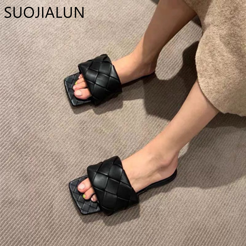 SUOJIALUN 2020 Newest Women Slides Square Toe Weave Flat Slippers Brand Designer Summer Outdoor Slipper Women Beach Sandals