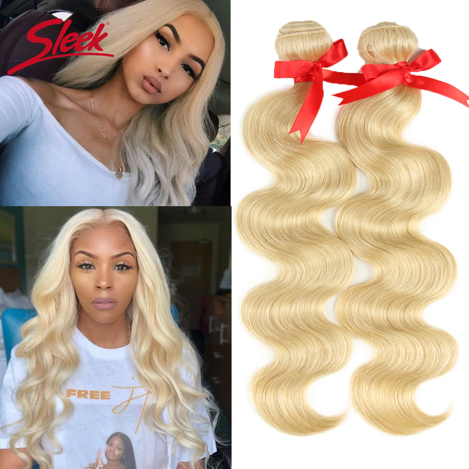 Sleek Mink Brazilian Body Wave Hair Blonde 613 Color Hair Weave 10 To 26 Inches Bundles Remy Hair Extension Free Shipping