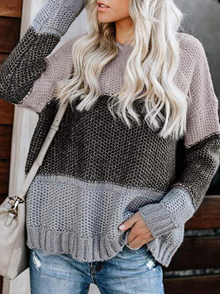 Striped Patchwork Sweaters For Women Autumn Winter Loose Knitted Sweater Casual O-Neck Long Sleeve Pullover Women