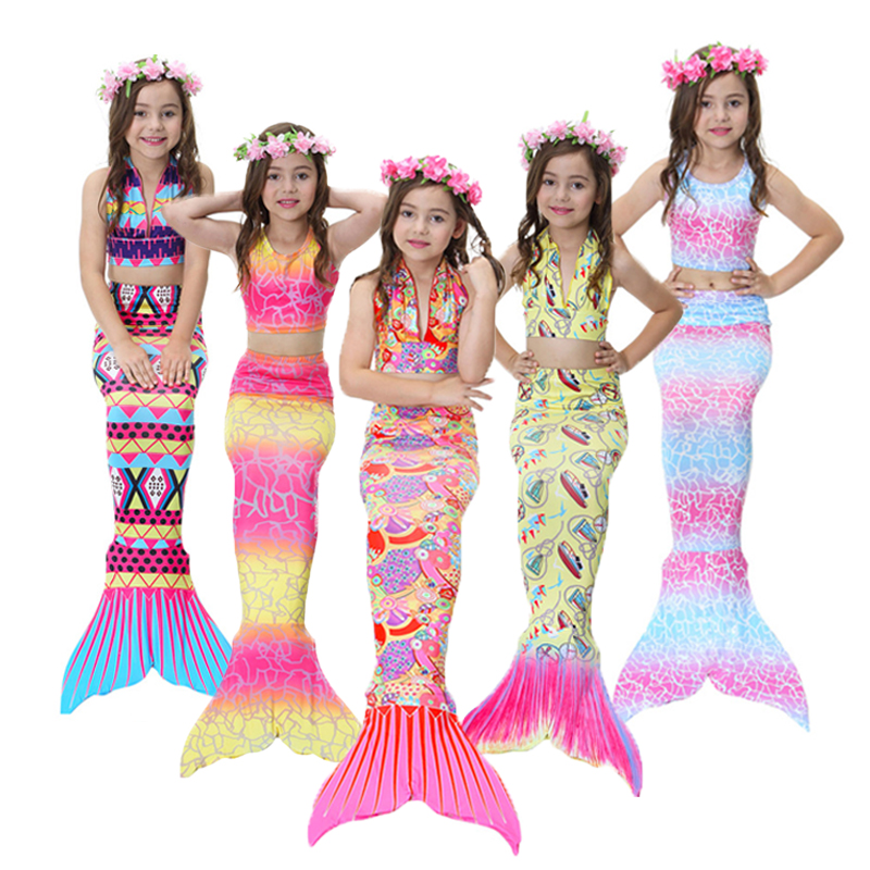Mermaid Girls Costume Kids Dress Tail Fancy Swimwear Ariel Child Little Swimsuit