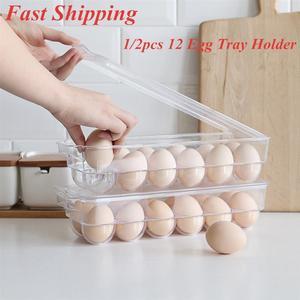 1/2pcs 12 Eggs Tray Thicken Transparent Plastic Eggs Storage Container Egg Holder for Home Kitchen Refrigerator Egg Crisper(China)
