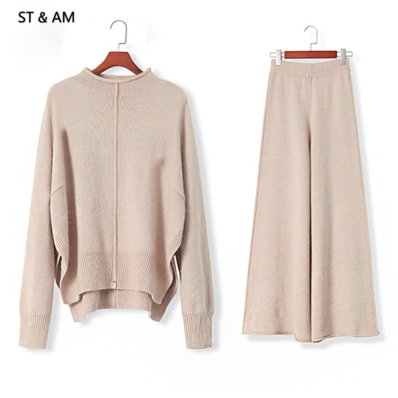 ST & AM Winter Knitted Tracksuit 2 Piece Pant Suits For Women Long Sleeve Two Piece Set Top And Pants Women Suit Outwear Korean