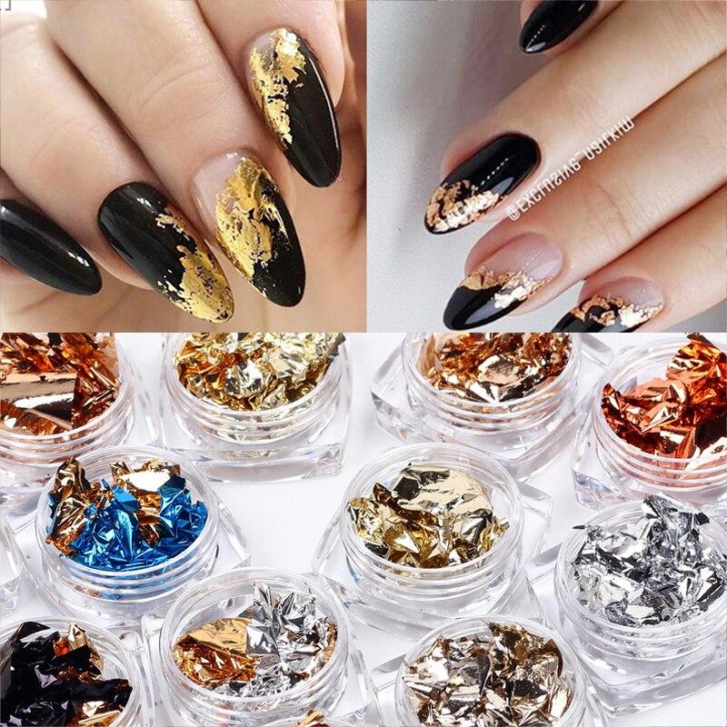 Золотистая, серебристая, красная цветная фольга для ногтевого дизайна, бумага, асимметричные Алюминиевые наклейки для ногтей, маникюр, блес...