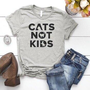 Cats Not Kids Summer Women T-shirt Love Cats Love Animals Kawaii Short Sleeve Tshirts Streetwear Harajuku Tops Tees Dropshipping