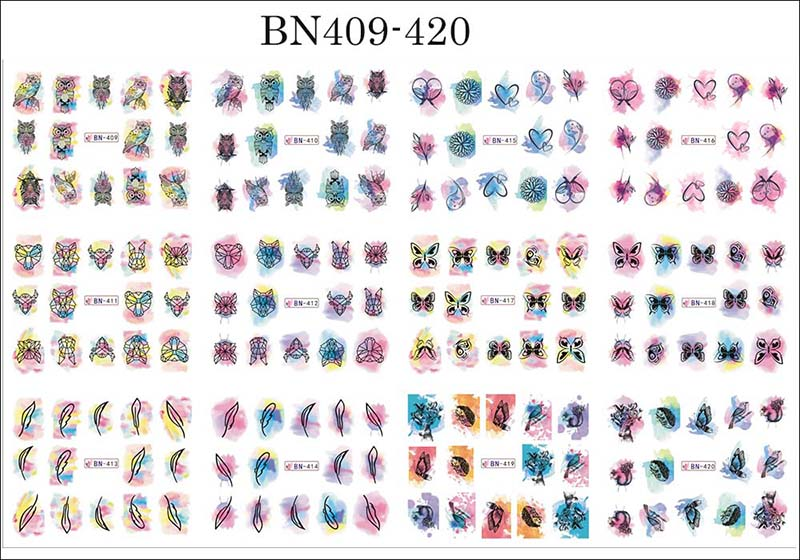 12pcs Valentines Manicure Love Letter Flower Sliders for Nails Inscriptions Nail Art Decoration Water Sticker Tips GLBN1489-1500 23