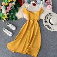 Vintage fino babados sexy fora do ombro verão outono midi vestido longo vestido de festa feminino casual elegante festa a linha vestidos