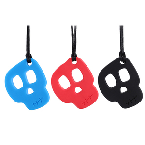 New Baby Teether Skull Chew Necklace Baby Silicone Teether Sensory Chewelry Toy Autism Therapy Tool Special Needs ADHD(China)