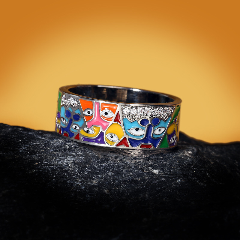 Silver Rings For Women 925 Sterling Silver White CZ Handmade Enamel Lovely Cat Unique Trendy Ring Party Fashion Jewelry