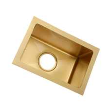 Single Bowl Brush Kitchen Sink Gold Drain Undermount Above Counter Manual Bar 304 Stainless Steel