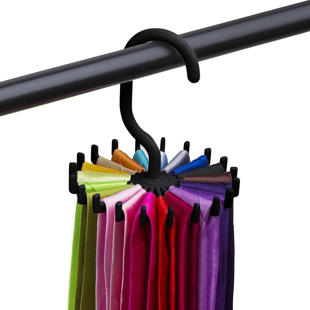 New 360 Degree Rotating Tie Rack Belt Hangers 20 Neck Holder Hook For Closet Organizers Home Hanging12*11*3.8cm  11.29