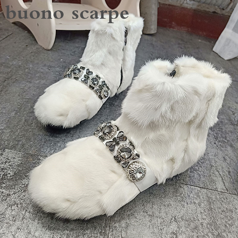 Winter water drill hair snow boots women's booties plus velvet anti-skid warm thick boots women's fur boots