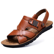 Large size 47 men's leather beach shoes sandals summer cowhide men's shoes slippers soft bottom Roman outdoor driving shoes