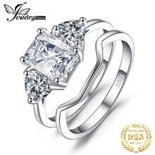 JPalace zümrüt kesim nişan yüzüğü seti kadınlar için 925 ayar gümüş yüzük alyanslar bantları gelin setleri gümüş 925 takı