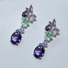 Utimtree Exquisite Purple Crystal Drop Earrings Jewelry 925 Sterling Silver Handmade Flower Statement Earring for Women