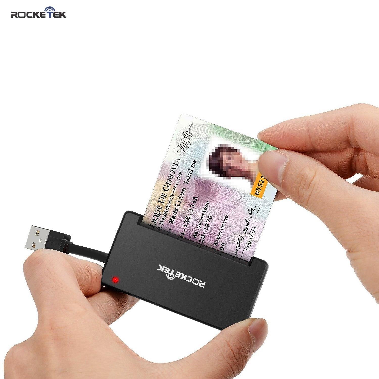 Rocketek usb 2.0 leitor de cartão inteligente cac id banco sim cartão cloner conector cardreader adaptador computador portátil acessórios