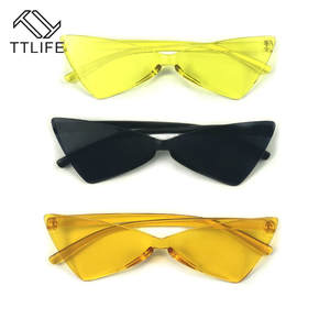 Sunglasses Brand Eyewear Cat-Eye Triangle Small Retro Vintage Designer Women TTLIFE Sexy