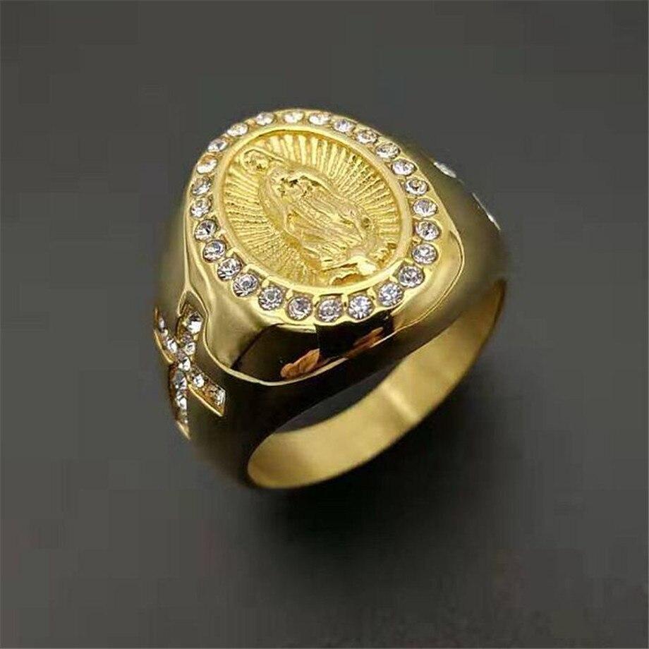Anéis de cor dourada religiosos, anéis virgem maria para homens e mulheres, aço inoxidável, iced out cz, hip hop, joias cristãos, dropshipping