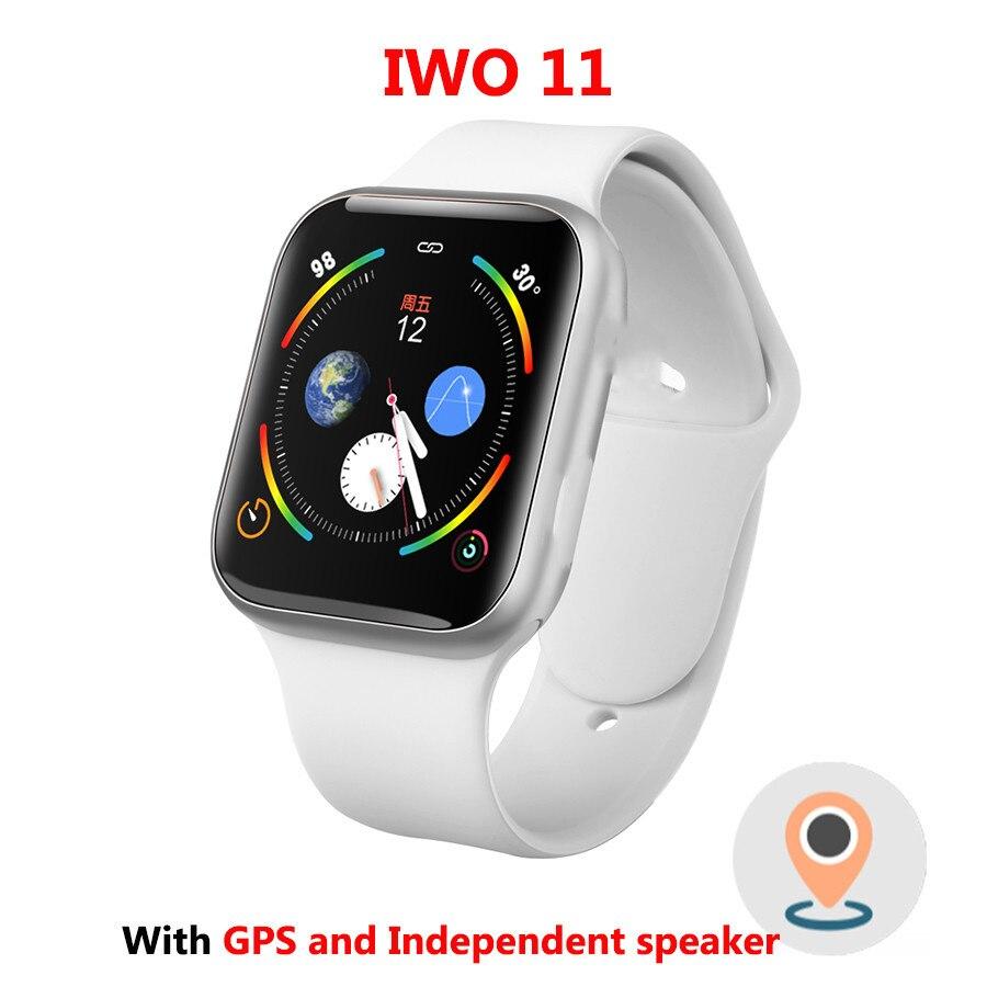 Iwo 11 gps bluetooth relógio inteligente 1:1 relógio inteligente 44mm caso para apple ios android freqüência cardíaca pressão arterial iwo 10 atualização