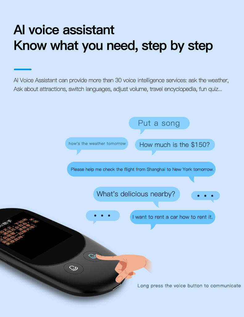 Voice and Photo Scanning Pocket Language Translator with 2.4 Inch Touch Screen and WIFI Supports 79 Languages and Offline Translation 13