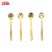 4pcs Cat Dog Claw Coffee Spoon Set 304 Stainless Steel Dessert Ice Cream Tea Flatware Drinking Tools Kitchen Accessories