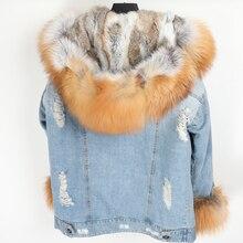 Naturalne futro z lisa duża, futrzana obroża denim płaszcz zimowy luźna moda futro odpinana podszewka Park Parker skórzana kurtka damska
