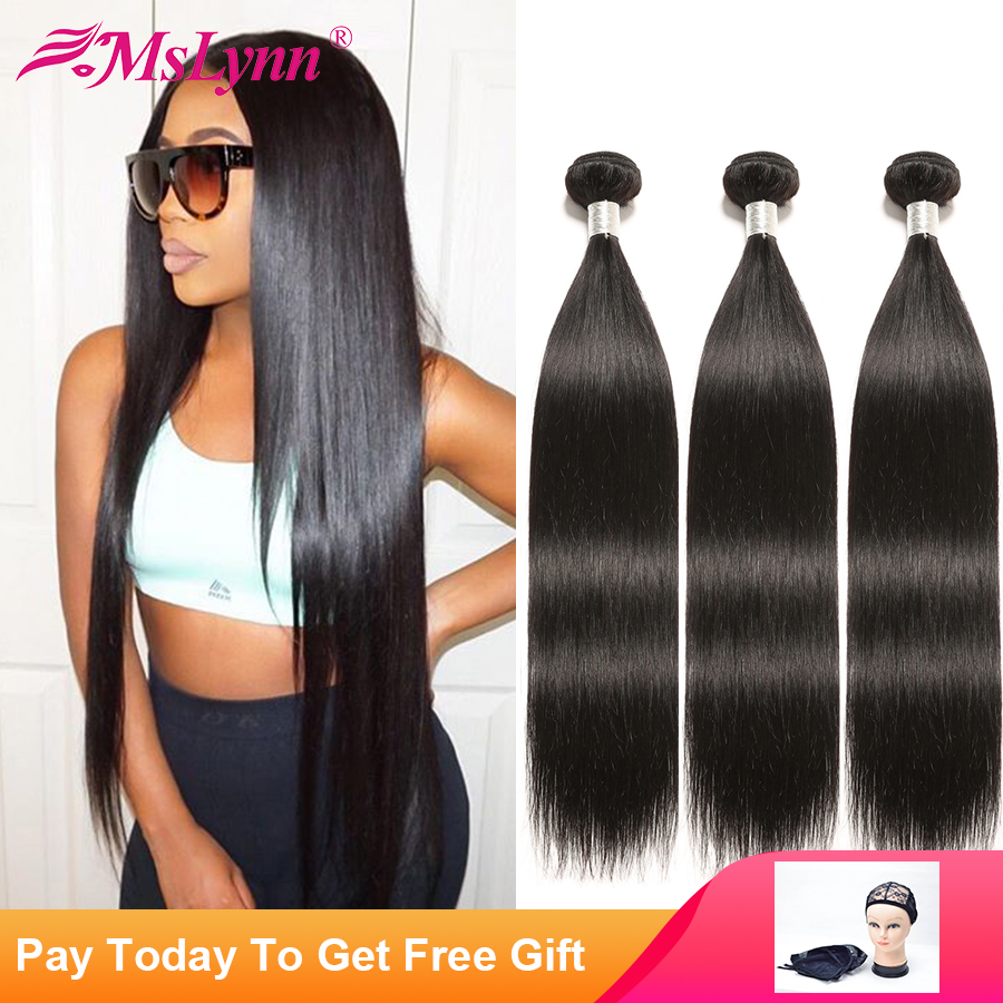 Straight Hair Bundles Brazilian Hair Weave Bundles Human Hair Bundles 1/4 Or 3 Bundles Hair Extensions Natural Black Mslynn
