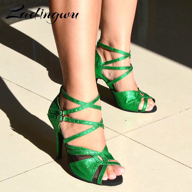 Ladingwu Latin Dance Shoes Women Profession Salsa Dance Shoes Ladys Ballroom Dance Shoes Soft Bottom Shoes Green Flash Cloth