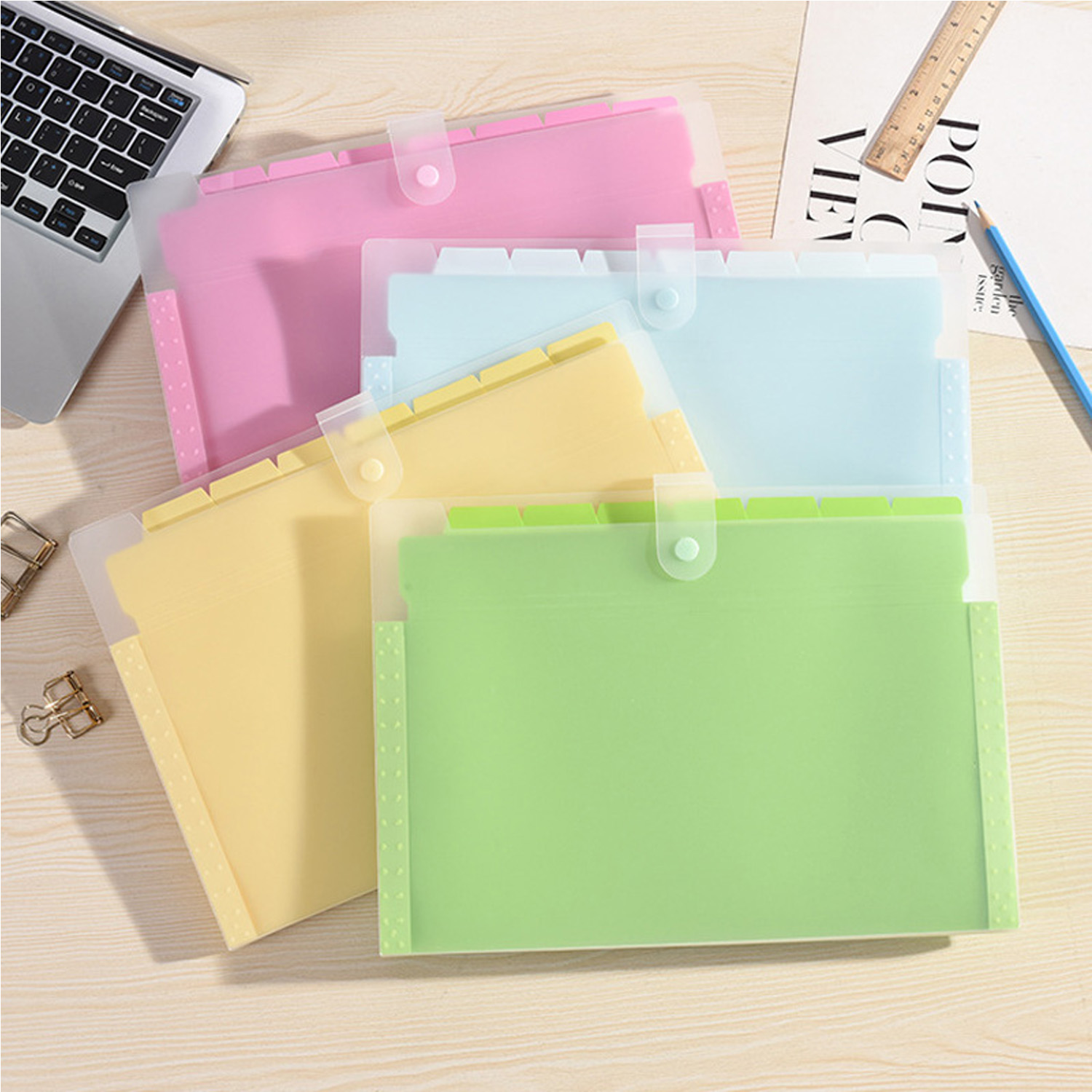 Wholesale Solid A4 Size Plastic Expanding Wallet File Folders Document Bag Organizer With Button School Office Stationery Parts