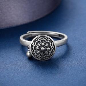 Image 4 - V.YA 100% 925 Silver Buddhist Ring for Women Tibetan Prayer Wheel Ring OM Mantra Ring Good Luck Women Ring