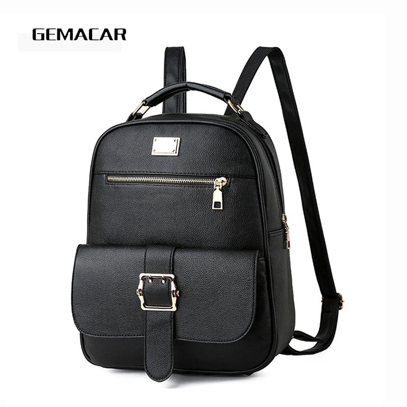 Women's Backpack Simple And Comfortable Elegant Youth Female Bagpack Pu Leather Knapsack Soft Back Leisure Waterproof Bag