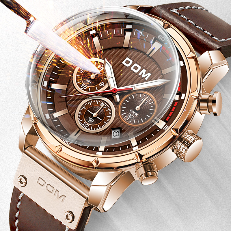 DOM Sapphire Sport Watches for Men Glod Top Brand Luxury Military Leather Wrist Watch Man Chronograph Wristwatch M-1320GL-5M
