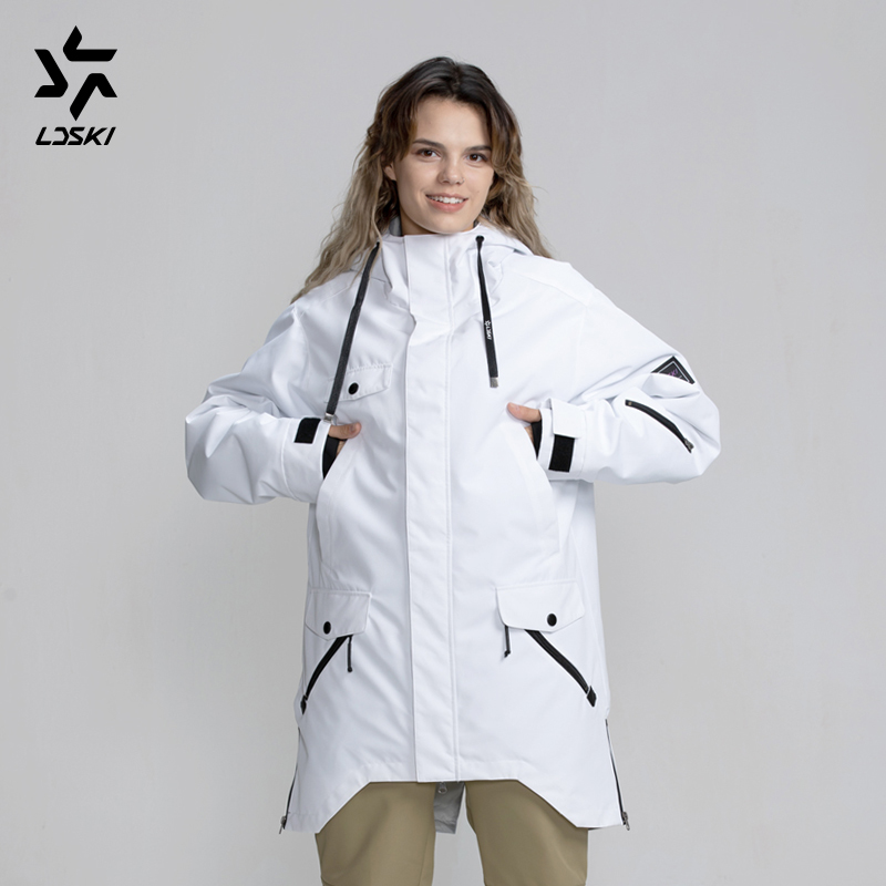 LDSKI Ski Jacket Snowboard Parka Water Repellent Hoody Jacket Thin Insulation Urban Street Stylish Skiwear Ski Pass Pocket