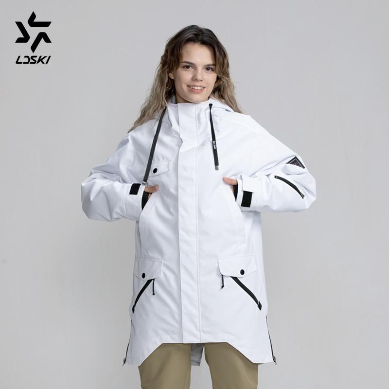 LDSKI Ski Jacket Snowboard Parka Water Repellent Hoody Jacket Thin Insulation Urban Street Stylish Skiwear Ski Pass Pocket
