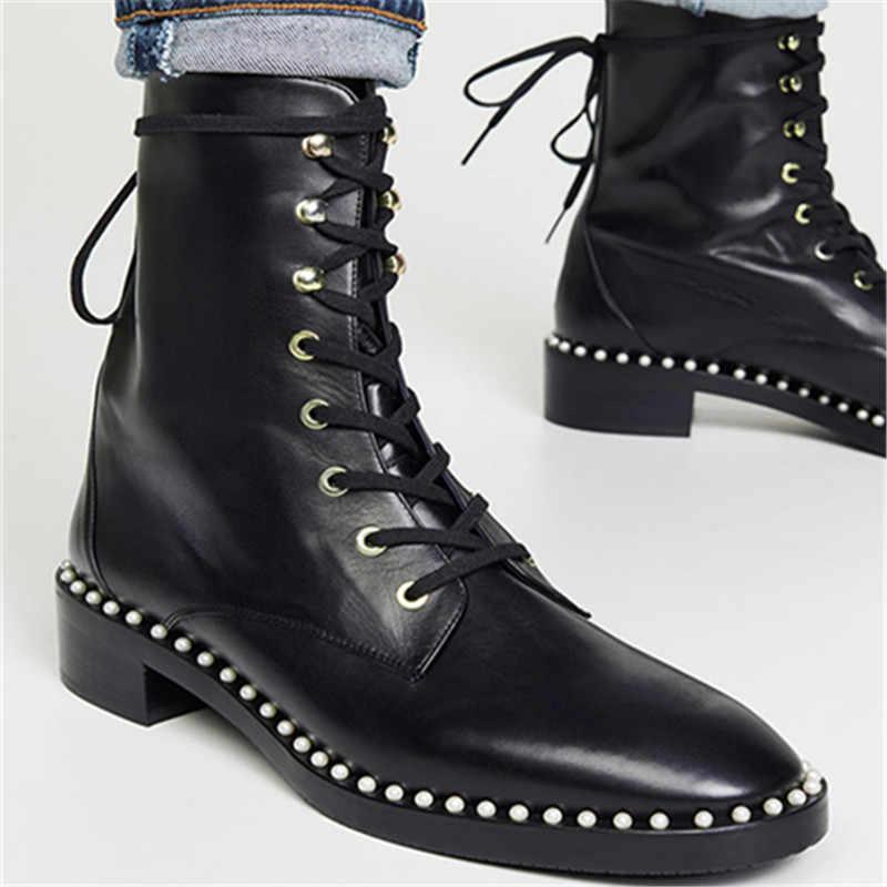 Sondra Faux Pearl Combat Ankle Boots