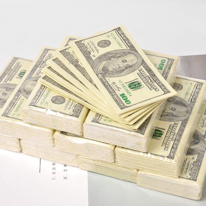 10 hojas/Paquete de papel de seda con diseño de dólar, toalla desechable de madera pura, servilleta de dinero portátil, pañuelo, vajilla de fiesta|Servilletas de papel y servilletas|   -