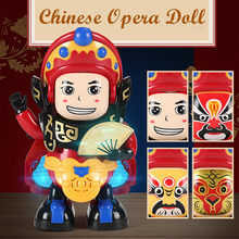Traditional Feature Chinese Opera Face Changing Doll Light Music Dance Robot Toy Children Birthday Gift RC Robot Toy for Boys(China)