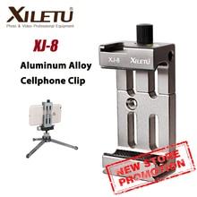 Xiletu XJ 8 多機能携帯電話ホルダークリップ三脚電話懐中電灯マイクと水準器とコールドシューマウント