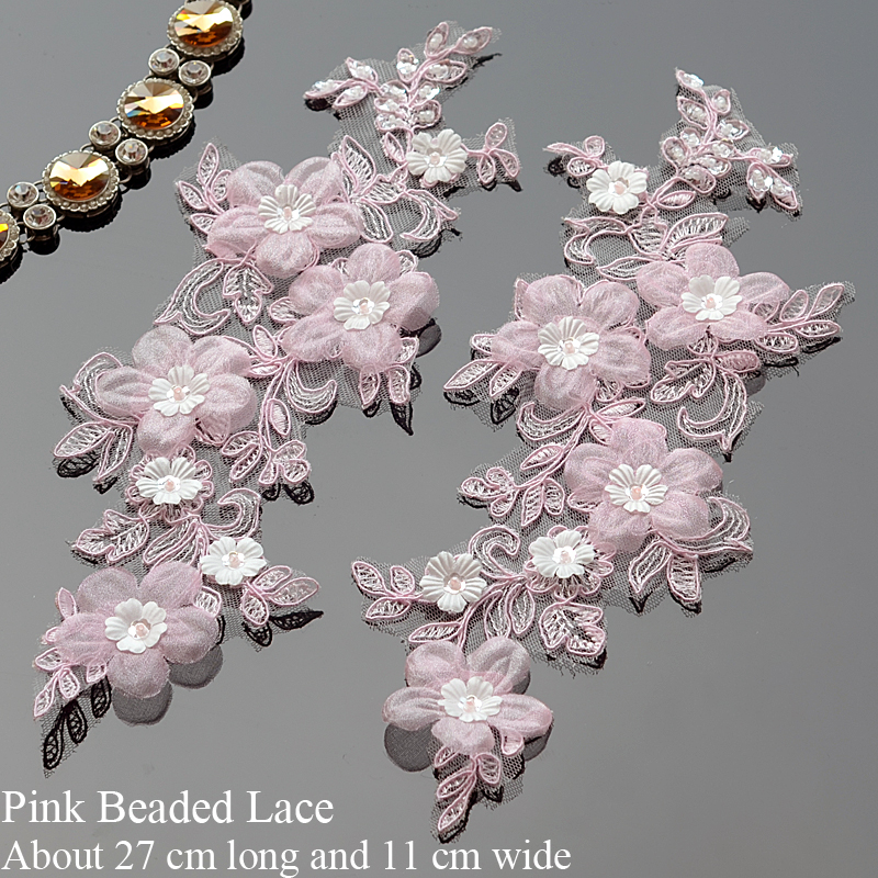 1Pair Pink Sewing Beaded Lace Applique Fabric 3d Flowers Embroidery Lace Applique Trim Accessories With Sequin For Wedding Dress