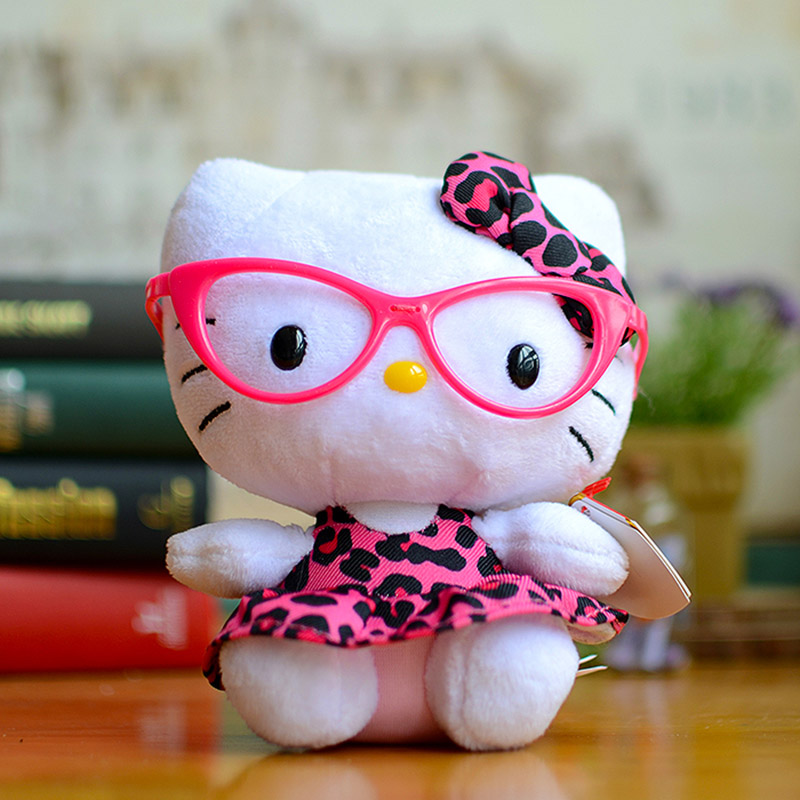 Pink Hello Kids Baby Plush Toys Sweet Cute Dolls Lovely Black Glasses Cats Soft Cartoon Filled Animals Christmas Birthday Gifts