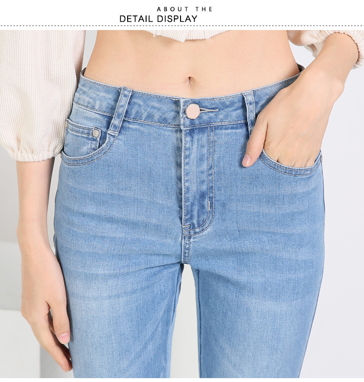 KSTUN FERZIGE high waist women jeans stretch light blue hollow out embroidery slim fit bell bottom pants fashion women's jeans size 36 19