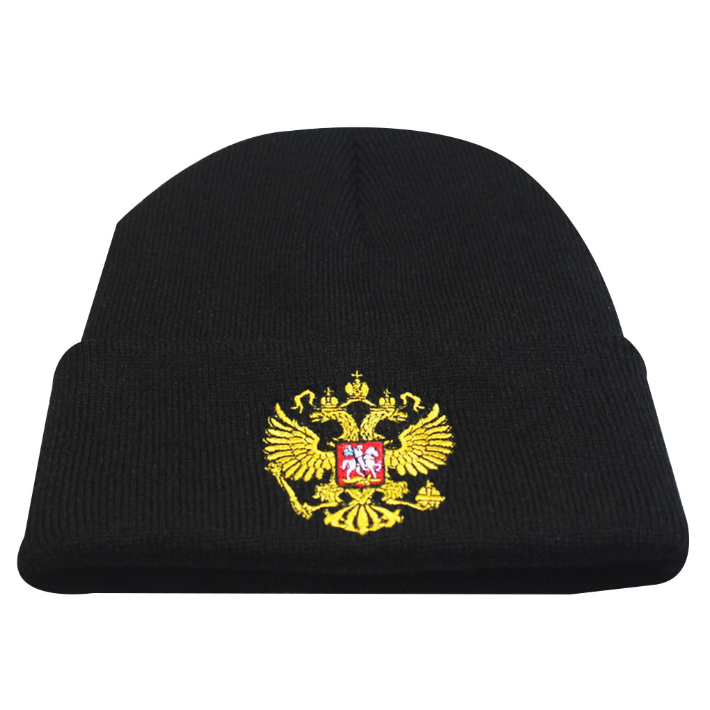 Unisex Russian Emblem Embroidered Knitted Hats Turn Up Skull Caps Pinstripe Beanie Headwear Decor Accessories Fashion New