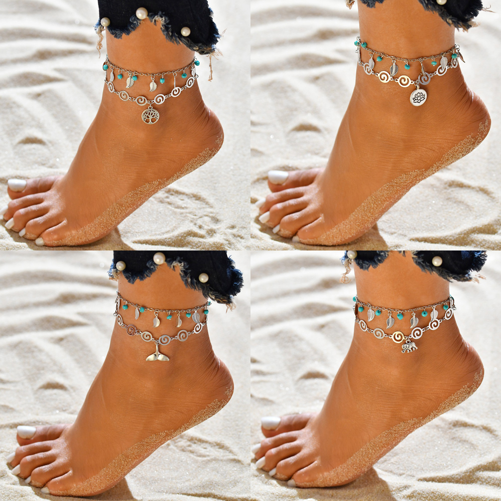 New Elephant, mermaid, Tree of life Pendant Double Anklets for Women Foot Accessories Summer Beach Barefoot Sandals Bracelet