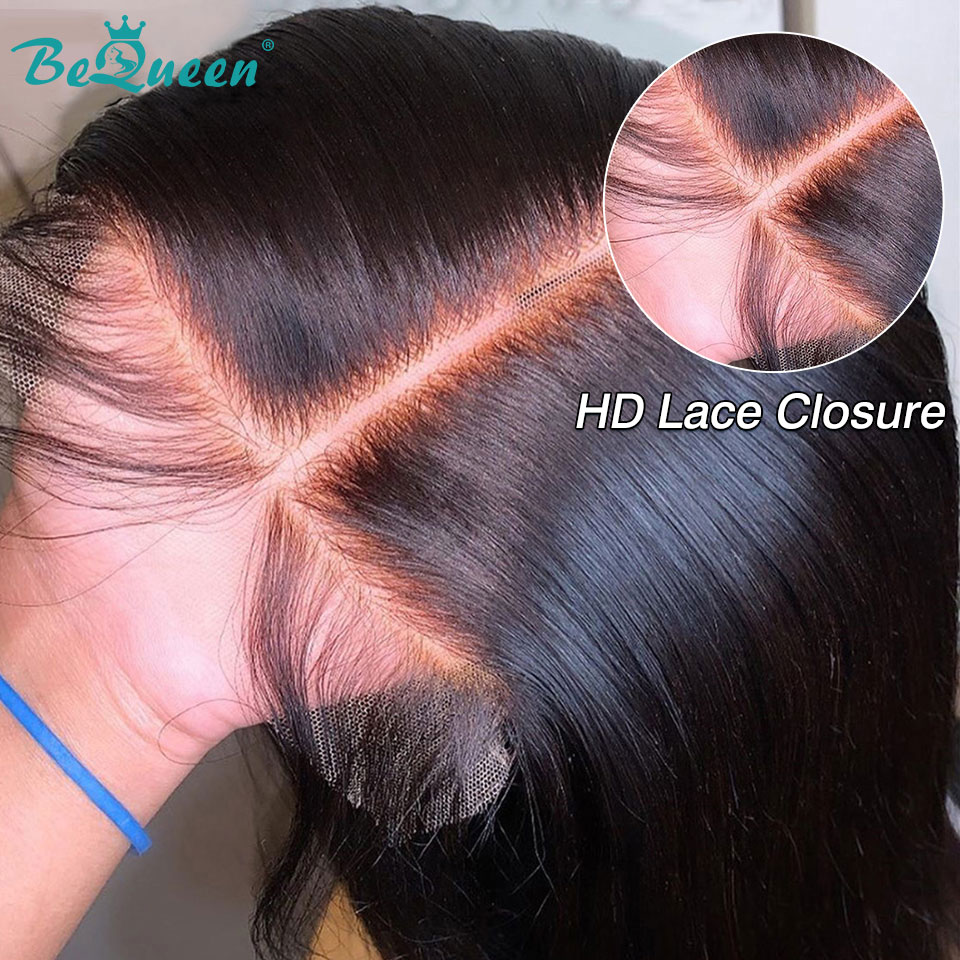 BeQueen Brazilian 4x4 HD Lace Closure Straight 5x5 Lace Closure Frontal Invisible Transparent Human Hair Closure Closures Only