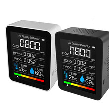 Medidor de co2 portátil digital temperatura e umidade sensor testador qualidade do ar monitor dióxido carbono tvoc formaldeído hcho detector