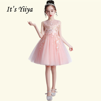 2017 flower girls dresses for wedding high low o neck ball gown sleeveless lace beads ribbon spring pageant kids communion dress 2020 Flower Girl Dress BT008 Elegant Communion Dresses Elegant O-Neck Sleeveless Pageant Dresses For Girl Kids Flower Girls Gown