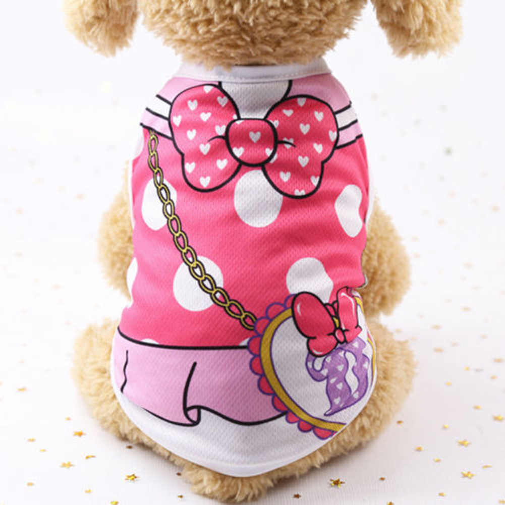 Одежда для маленьких собак, летняя Сетчатая футболка в мультипликационном стиле для питомцев, собак, кошек, рубашка для маленьких и средних собак, милая Одежда для питомцев, жилет, футболка, одежда, новинка