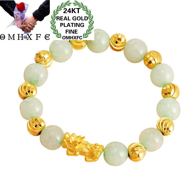 OMHXFC Wholesale BE388 European Fashion Fine Woman Girl Party Birthday Wedding Gift Vintage PIXIU Beads Chain 24KT Gold Bracelet