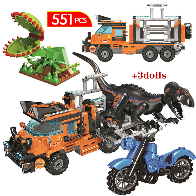 551pcs Ideas Dinosaur Series Catching Truck Building Blocks Jurassic World Park Dinosaur Figures Bricks Toys for Boys